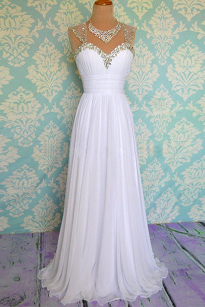 Elegant white chiffon beading A-line long prom dresses for teens ,evening dresses - occasion dresses by Sweetheartgirls