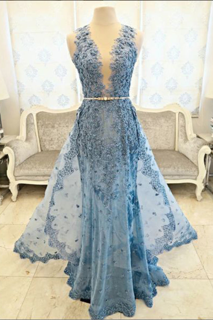 2018 evening gowns - Light blue lace V-neck A-line long prom dresses ,2017 new evening dresses