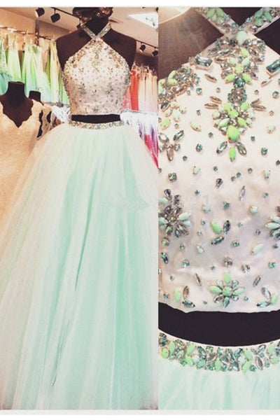 2018 evening gowns - Mint organza two pieces halter A-line long prom dress for teens,graduation dresses