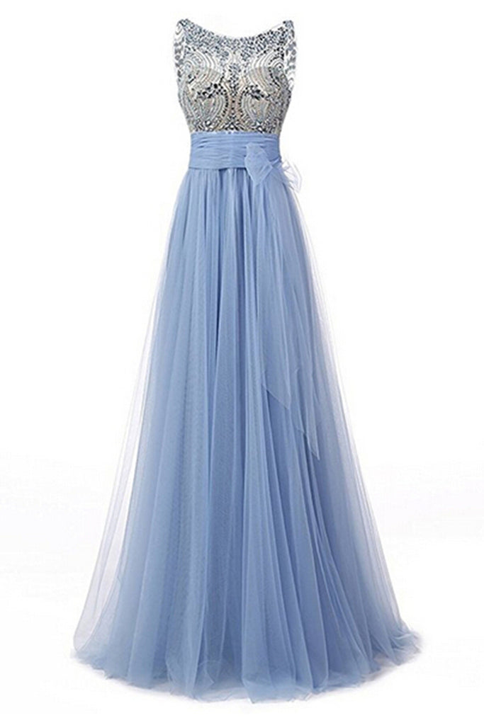 Light Blue Tulle Beading Round Neck A Line See Through Long Prom