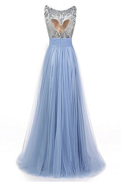 2018 evening gowns - Light blue tulle beading round neck A-line see-through long prom dresses ,formal dresses