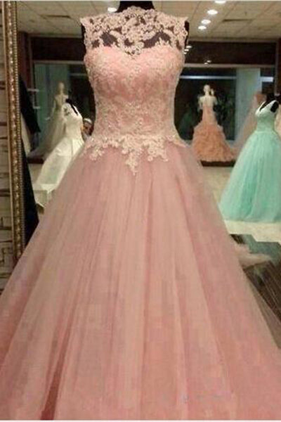 Peach organza lace applique round neck A-line long prom dresses for teens ,evening dresses - occasion dresses by Sweetheartgirls