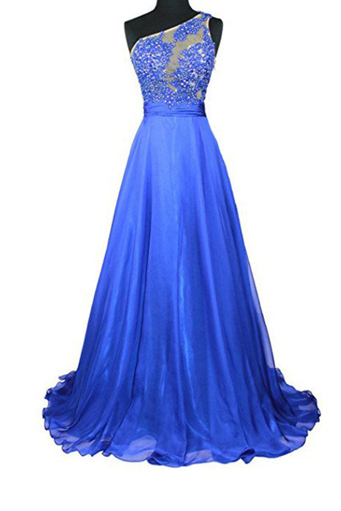 Blue chiffon one shoulder see-through beading sequins A-line long prom dresses,evening dress - prom dresses 2018