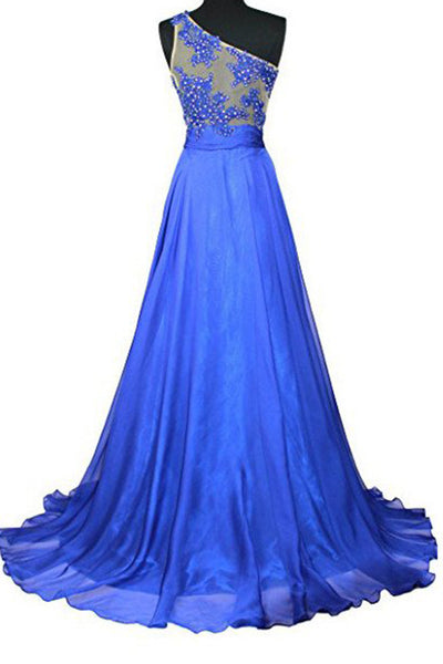 2018 evening gowns - Blue chiffon one shoulder see-through beading sequins A-line long prom dresses,evening dress
