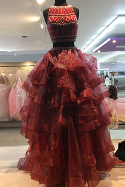 Burgundy organza tiered two pieces beading round neck A-line long prom dresses ,formal dresses - occasion dresses by Sweetheartgirls