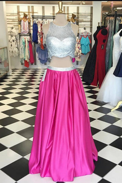 Sweet 16 Dresses | Rosy satins two pieces sequins A-line long prom dresses, evening dresses