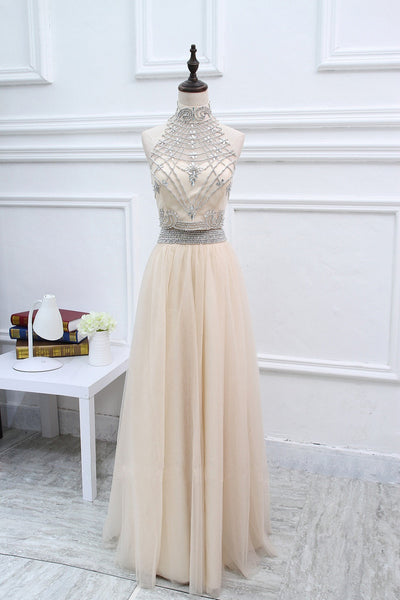 2018 evening gowns - Ivory chiffon two pieces beading A-line sequins high neck long dresses,formal dresses for graduation