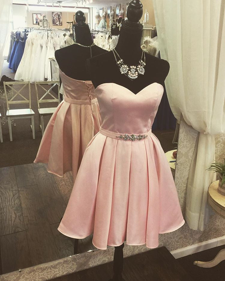 Sweet 16 Dresses | Simple pink satins sweetheart A-line short dresses,bridesmaid dresses