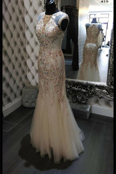 Sweet 16 Dresses | Ivory tulle see-through sequins beading mermaid long prom ,evening dresses