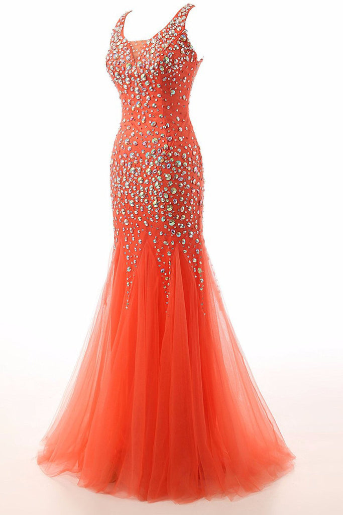 2018 evening gowns - Orange organza round neck beading long prom dresses, mermaid dresses