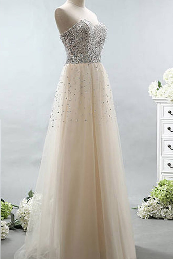 Sweet 16 Dresses | Elegant tulle sweetheart sequins A-line lace up long evening dresses ,long promdress for teens