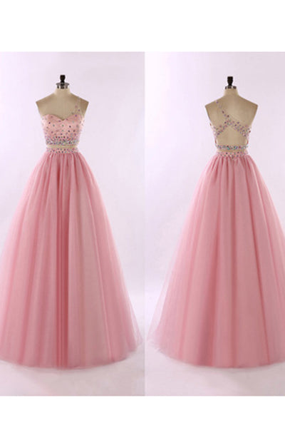 Beautiful pink organza two pieces sequins beaded one shoulder A-line long prom dress for teens - prom dresses 2018