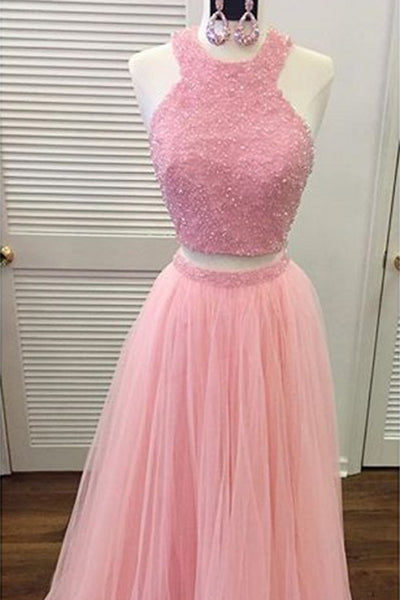 Sweet 16 Dresses | Pink tulle two pieces sequins beading A-line long prom ,evening dresses
