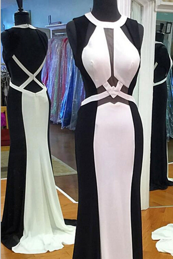 2018 evening gowns - New design black &white chiffon long dresses,slim-line evening dresses with straps
