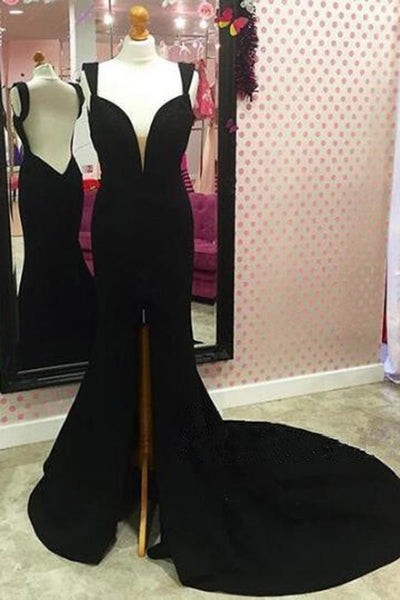 2019 Prom Dresses | Black chiffon V-neck slit mermaid train backless evening dresses with straps