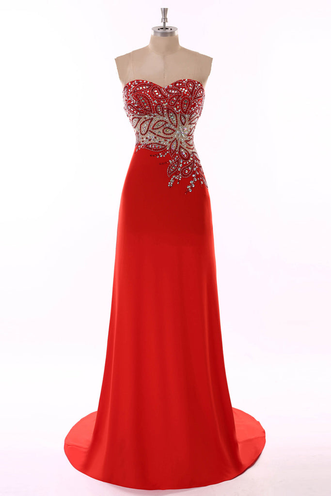 Sweet 16 Dresses | Red chiffon sequins beading  evening long dresses, sweetheart homecoming dresses