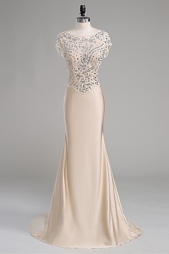 2018 evening gowns - Ivory chiffon sequins beading  evening long dresses, floor-length homecoming dresses