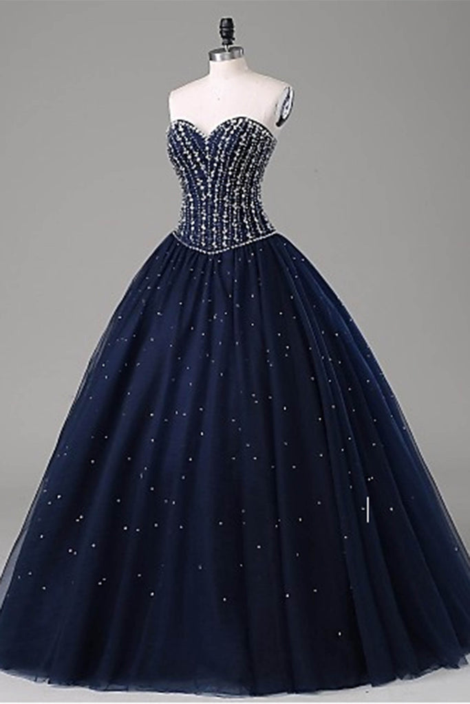 Sweet 16 Dresses | Dark blue tulle sequins rhinestone long dresses,ball gown dresses