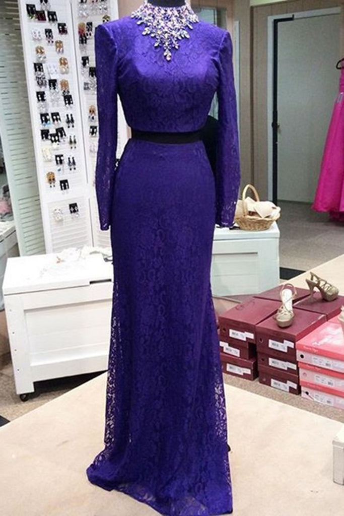 Sweet 16 Dresses | Purple lace  long dresses,long sleeves two pieces evening dresses