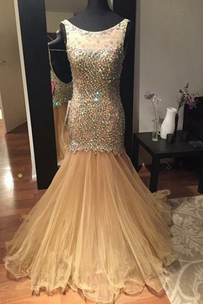 Champagne organza beading see-through long dress, round neck mermaid  dresses - prom dresses 2018