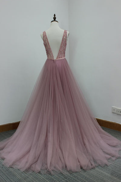 Sweet 16 Dresses | Pink tulle V-neck long dress,beading sequins open back graduation dresses