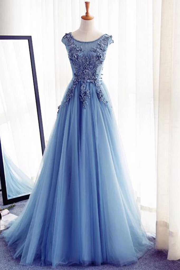 Sweet 16 Dresses | Sky blue organza lace applique round neck A-line evening dresses,formal dress
