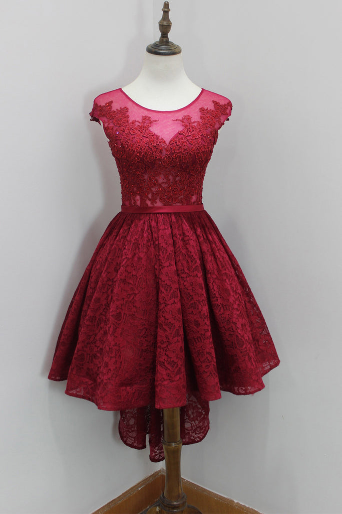 Red Lace Round Neck High Low Dresses A Line Short Formal Dresses