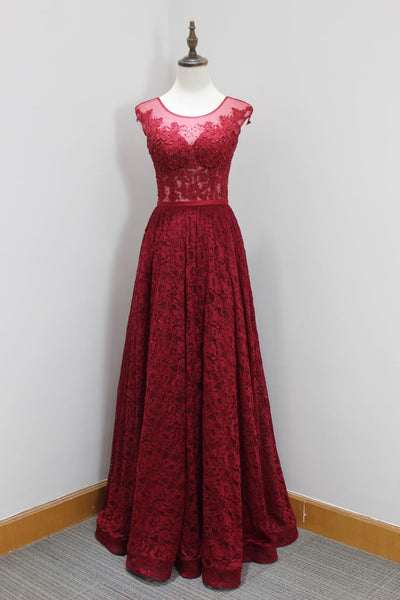 Red lace round neck see-through A-line long dresses,evening dresses - occasion dresses by Sweetheartgirls