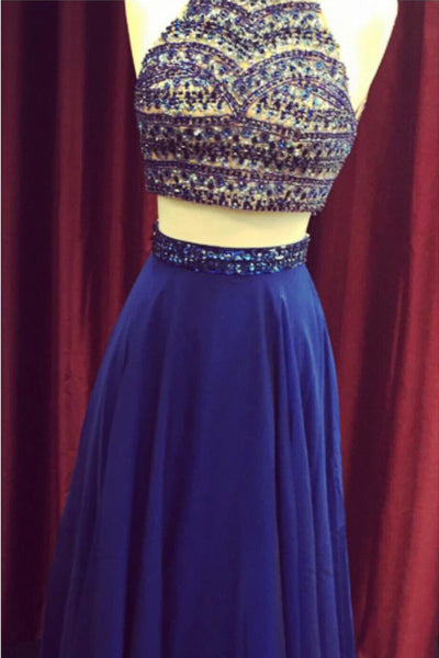 Navy blue chiffon two pieces halter beading long dresses,evening dresses for teens - prom dresses 2018