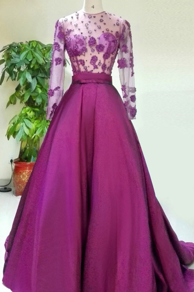 2018 evening gowns - Lilac chiffon see-through long sleeves applique beading long evening dresses