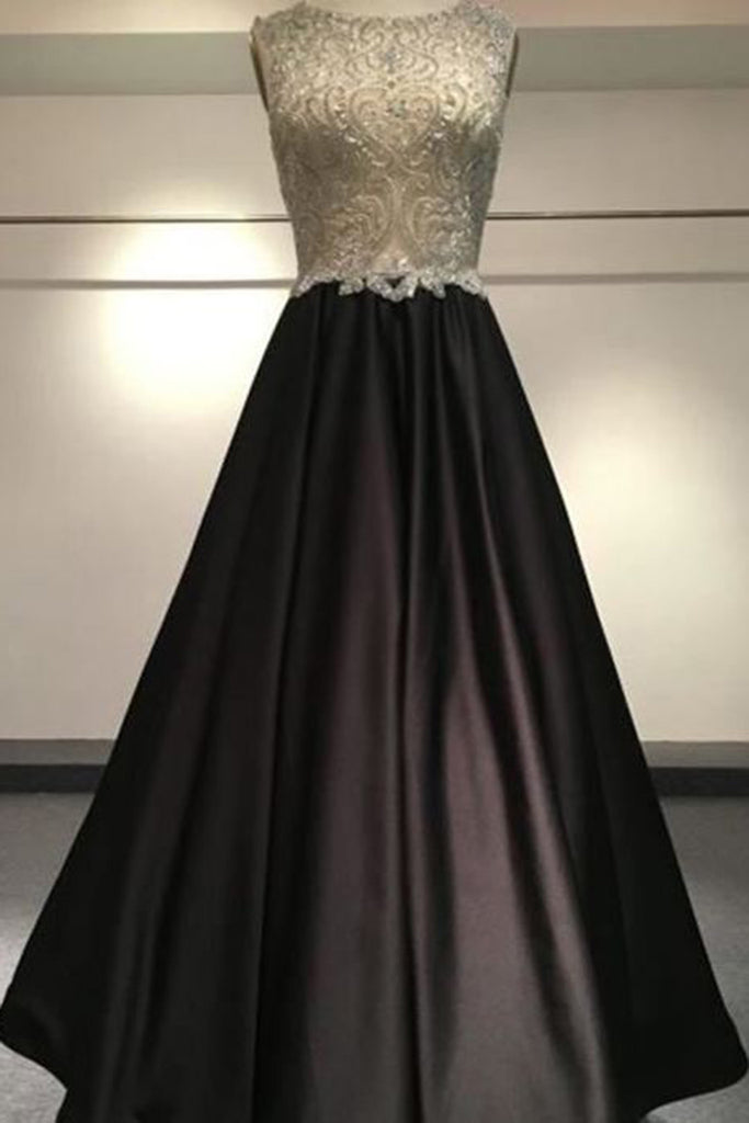 Sweet 16 Dresses | Pretty black satins A-line round neck beading floor-length long evening dress for prom