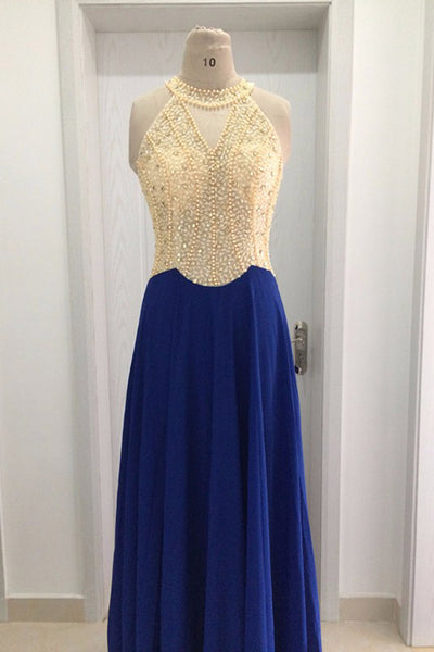 2018 evening gowns - Navy blue chiffon halter beading floor-length long evening dress for prom