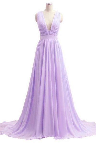 Lavander chiffon V-neck A-line long dresses,elegant evening dresses - occasion dresses by Sweetheartgirls