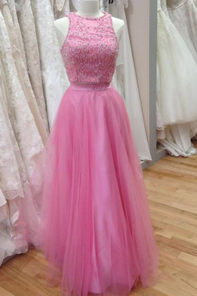 Cute pink tulle sequins round neck A-line long evening dresses,formal dress - prom dresses 2018