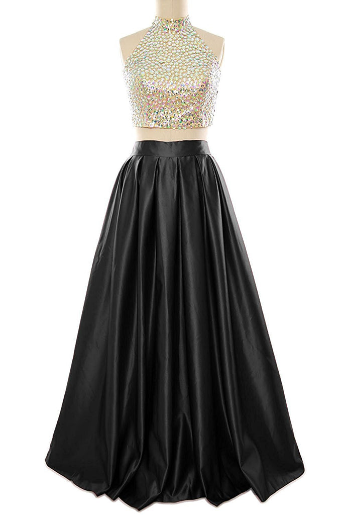 2019 Prom Dresses | Black satins two pieces sequins long dresses,charming evening dresses for prom