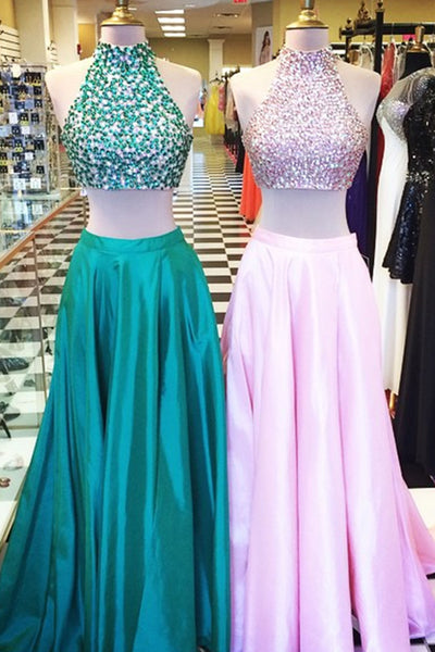 2019 Prom Dresses | Colorful satins two pieces halter long dress,beading sequins homecoming dresses