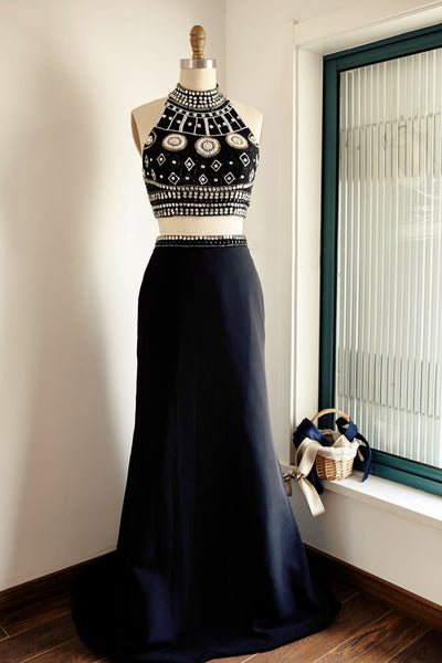 2018 evening gowns - Luxury rhinestone beading long dresses,black chiffon round neck formal dresses