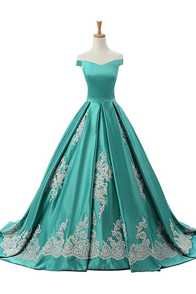 Sweet 16 Dresses | Green satins A-line long dresses,off-shoulder applique formal dresses