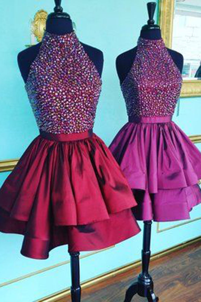 Sweet 16 Dresses | Red satins sequins halter A-line short dresses,cute prom dresses