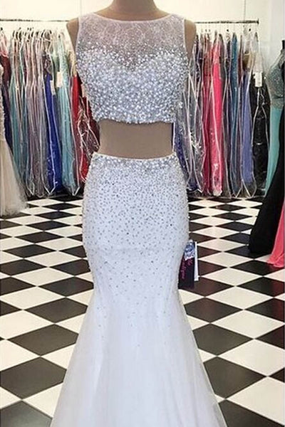 Sweet 16 Dresses | White tulle two pieces round neck sequins beading long prom dresses,formal dresses