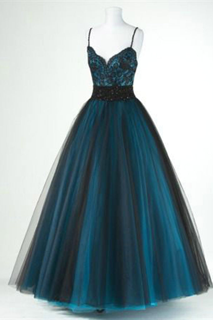 2019 Prom Dresses | Black tulle blue satins lace V-neck long dresses,cute homecoming dresses