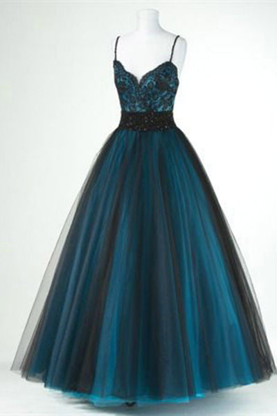 Black tulle blue satins lace V-neck long dresses,cute homecoming dresses - prom dresses 2018