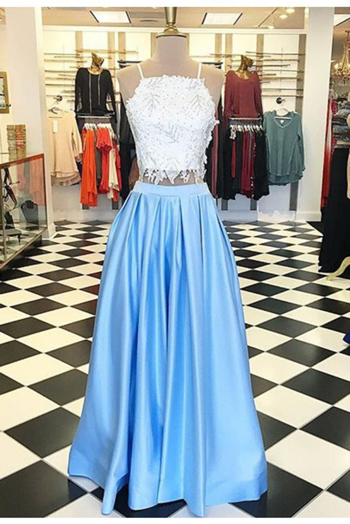 2018 evening gowns - Light blue satins two pieces lace long dresses,pretty evening dresses with straps