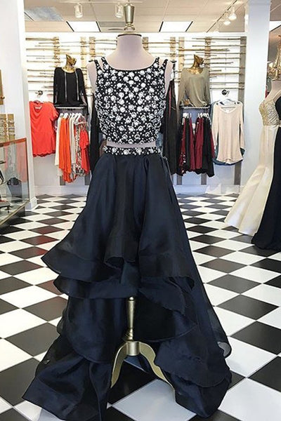 Black organza beading two pieces high low prom dresses,formal dresses - prom dresses 2018