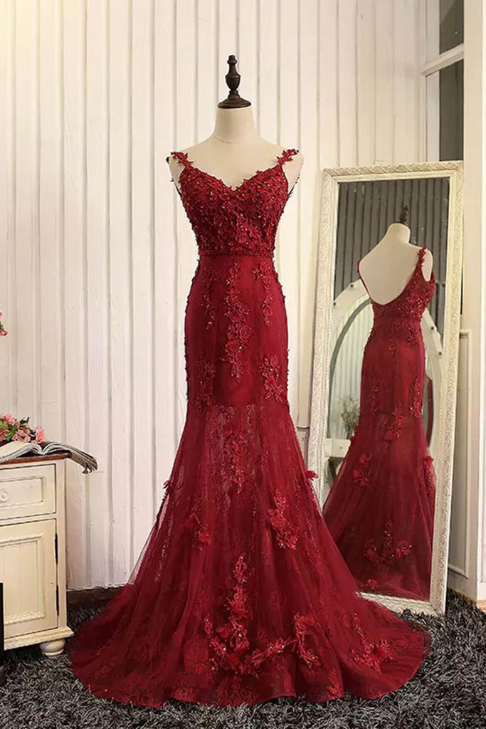 Red organza lace applique v-neck open back long prom dresses ...