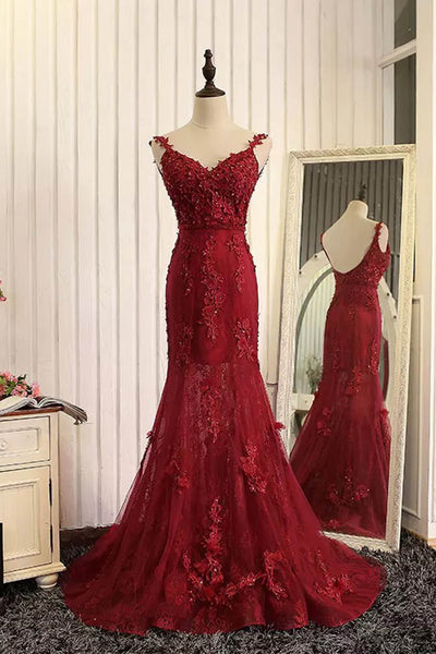 Sweet 16 Dresses | Red organza lace applique v-neck open back long prom dresses, mermaid dresses