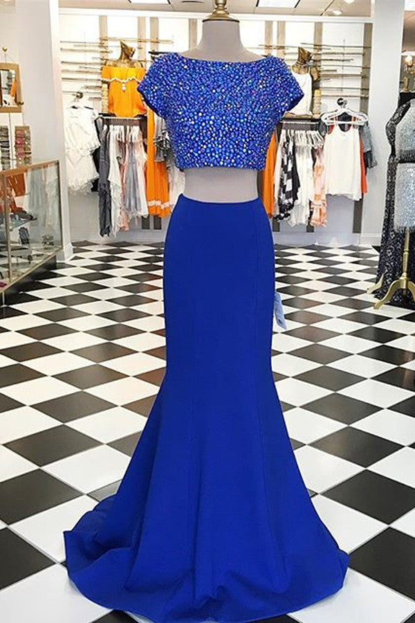 Navy blue chiffon two pieces round neck beading formal dresses,long dress - prom dresses 2018