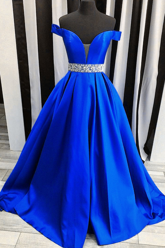 2018 evening gowns - Navy blue satins off-shoulders long prom dresses,elegant formal dresses