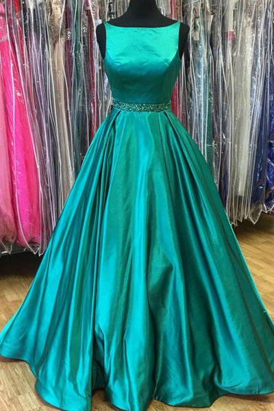 Sweet 16 Dresses | Green satins round neck A-line long evening dresses, plus size formal dress