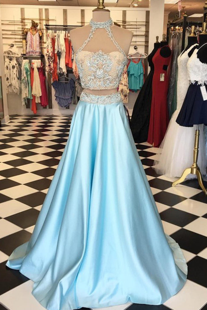 2018 evening gowns - Light blue satins two pieces lace round neck formal dresses,long dress